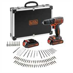 Black and Decker - 18V Lithiumion Drill Driver with 2 Battieries fast charger and 80 accessories in storage case - BDCDC18BAFC